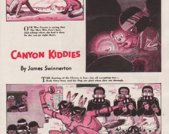 "Original Good Housekeeping cartoon ""Canyon Kiddies"" by James Swinnerton 1930s, 8x11 in. - Kids 721"
