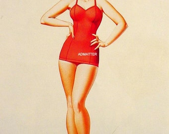 George Petty Pin-up Girl Poster Gorgeous Blonde in Red Bathing Suit Photo Mounted Hot Pinup Art Print!
