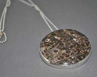 Turritella Agate pendant sterling silver  - one of a kind
