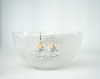 Clear Gem and Gold Earrings