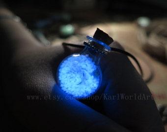 Blue XO bottle glow in the dark necklace,glow in the dark jewelry,glow in the dark party