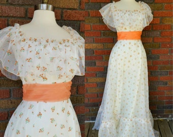 70s Gypsy Dress White and Orange Floral Maxi XS/S