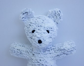 White Teddy Bear / Baby Soft Toy / Little Ted / Baby Bear / Knitted Baby Toy