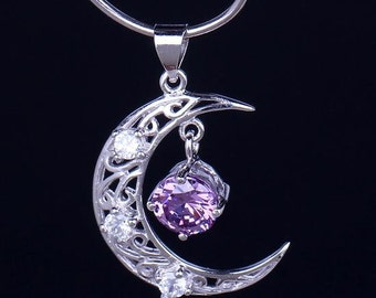 Silver Amethyst Moon Necklace, moon pendant, amethyst jewelry, silver pendant necklace, Sterling Silver Pendant