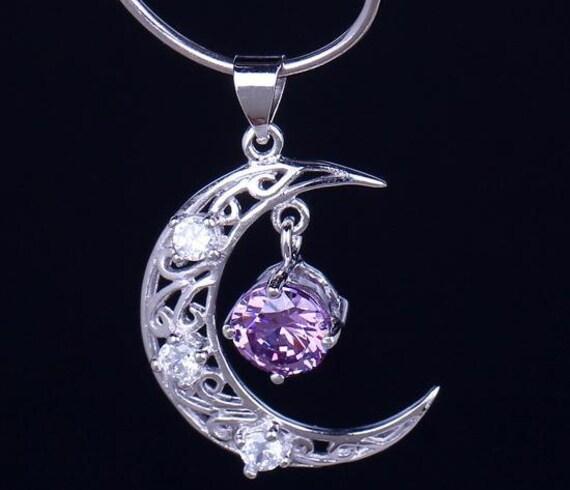 Silver Amethyst Moon Necklace Moon Pendant Amethyst Jewelry