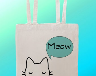 Cat kitten kitty cute Meow  - Reuseable Shopping Canvas Tote Bag