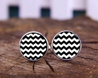 Black And White Stripe Cufflinks, Chevron Cufflinks, Monogram Cufflinks, Custom Chevron Cuff Links, Personalized Cufflink, Wedding Cufflinks