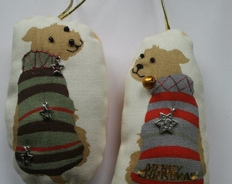 2 terrier type dogs Christmas tree hanging decorations, dog lovers