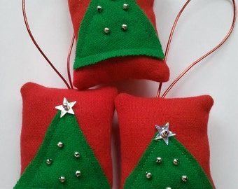 3 Red and green christmas tree design Christmas tree hanging decorations