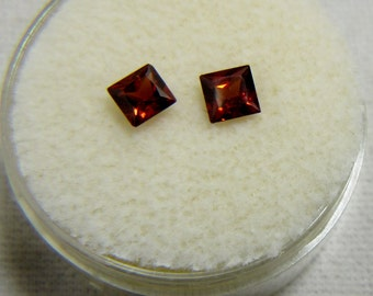 2 Natural Garnet Faceted Gemstones 4 x 4 mm Square .85 Carats January Birthstone, Anniversary, Capricorn Jewelry Supplies Garnet Jewelry 100