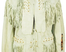 1980s XL Fringed Jacket Men Women Unisex Leather Bead Native American Cowboy Tribal Western Boho Navajo Indian Festival Coachella Beige