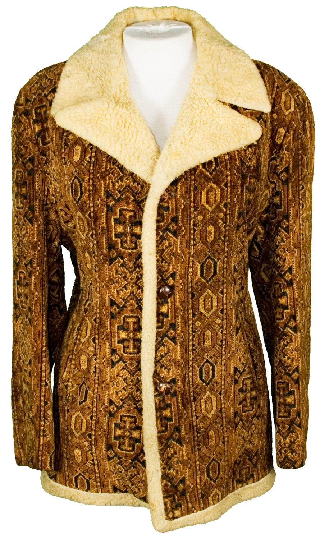 1960s Mens Jacket Large Carpet Coat Winter Outerwear Hippie