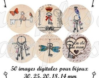 Digital collage sheet digital images, vintage images key, bird, butterfly , scrapbooking and bottle cap,printable image, instant download
