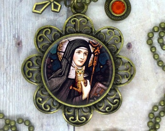 Saint Gertrude of Nivelles, Patron Saint of Cats and Families Who Love Them. Beautiful Image Necklace, Help for Good Vibrant Health, Energy.