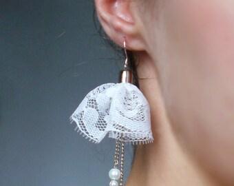 Lace earrings / Wedding jewelry / Romantic delicate earrings / Bridesmaid gift/925 sterling silver hooks / Luxury earrings / Unique earrings