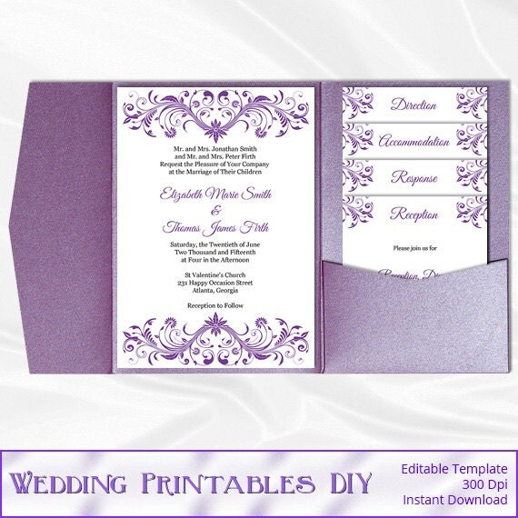 Pocket Wedding Invitation Set Diy Purple By WeddingPrintablesDiy