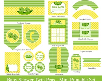 TWINS BABY SHOWER Printable Mini Set - Twins party Mini Set - 2 Peas in a pod twins baby shower - Invitation not included