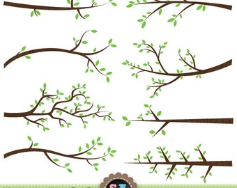 """Branch Silhouettes Clipart """"BRANCH SILHOUETTES"""" clip art pack Tree Branchs,Branchs,Silhouettes,Branch and Leave, Instant Download Pg018"""