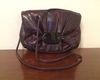Genuine Snakeskin Handbag by Aspects / Like New / Purple / 80s
