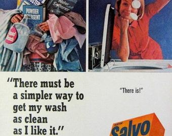 1965 Salvo Laundry Detergent Vintage Advertisement Laundry Room Wall Art Laundromat Decor Original Magazine Print Ad Paper Ephemera