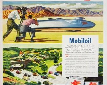 1948 Mobiloil Mobilgas Vintage Advertisement Automotive Wall Art Man Cave Garage Decor Original Magazine Print Ad Paper Ephemera
