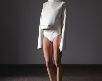 Women white sweatshirt featuring oversize- faux leather top- minimalist clothing- white simple knitted