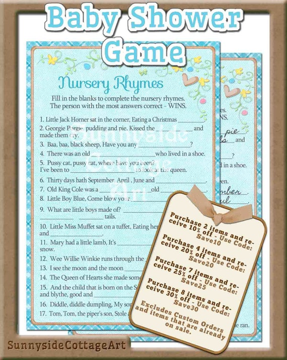 nursery rhymes songs lyrics printable baby shower game nursery rhyme