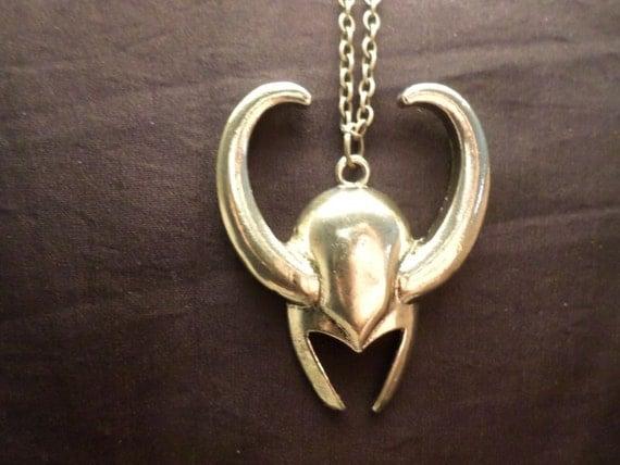 metal replica loki helmet pendant with 20 inch metal chain