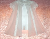 "Chiffon Vintage Peignoir Snow White Sheer Double Nylon Miss Elaine Lace Fluff Adult Baby Doll Sissy Robe Wear as Nightgown M/Medium 38"" Bust"
