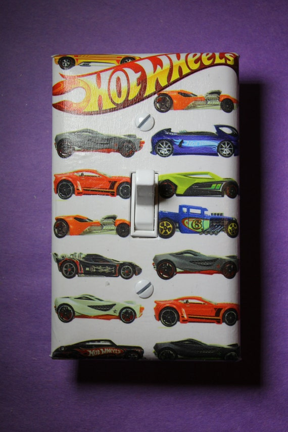 hot wheels light switch plate cover boys girls by comicrecycled