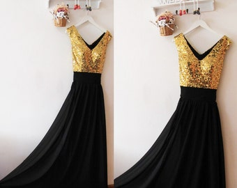 Gold and black dresses bridesmaid