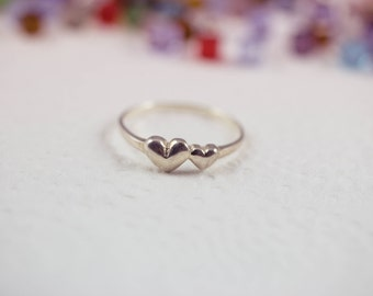Double Heart Ring, Silver Heart Ring, Sterling Silver Heart Ring, 2 Hearts Ring, Double Heart Promise Ring, Heart Ring, Two hearts Ring
