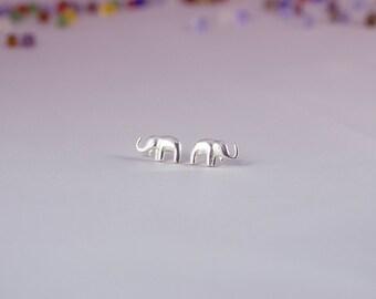 Sterling Silver Elephant Earrings, Silver Mini Elephant Earrings, Elephant Earrings, Elephant Earrings Studs, Silver Elephant Stud Earrings