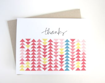 Thanks Notecard - Flying Geese Triangle Quilt Pattern - Blank Inside