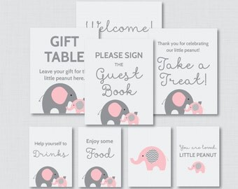 Printable Elephant Baby Shower Table Signs - EIGHT Signs! Welcome Sign, Favors Sign, etc - Instant Download - Pink and Gray Signs 0024-P