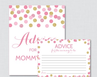 Advice for Mommy to Be Cards and Sign Pink and Gold Baby Shower Printable - Instant Download Glitter Polka Dots Advice for Mom - 0008-p