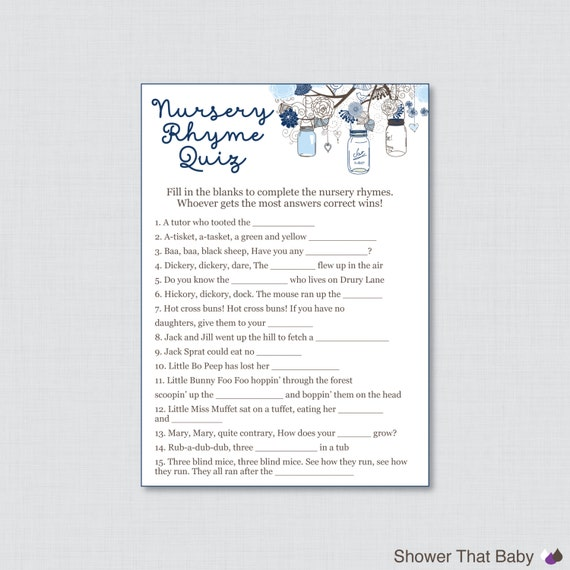 nursery rhyme game baby shower mason jar in blue printable instant