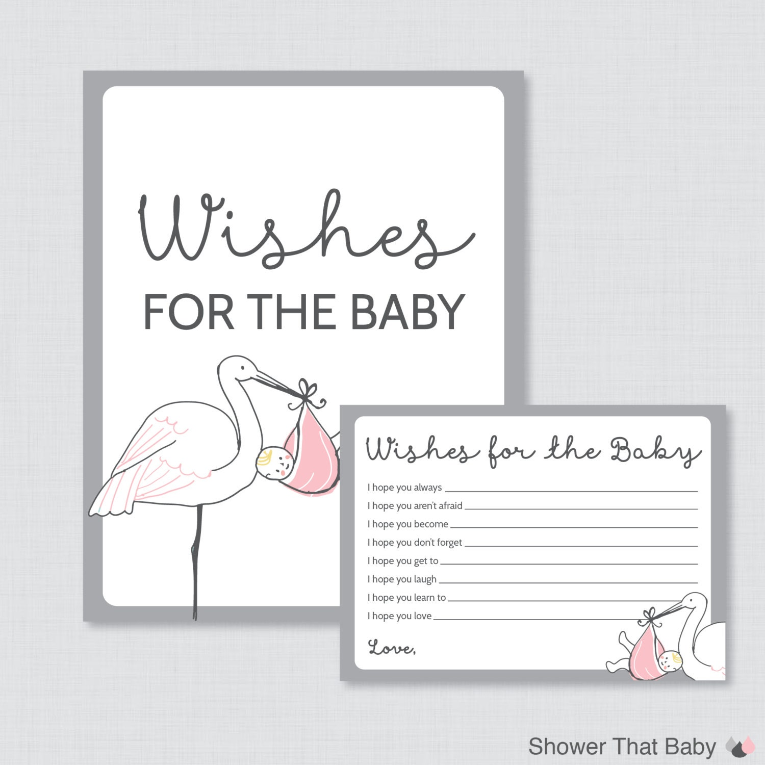 Stork Baby Shower Wishes For Baby Activity Printable Stork