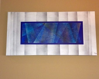 "Original Acrylic Abstract Painting on Gallery Canvas Titled:Visionary Blue ""48x24x1.5"" by KMH Art Gallery"