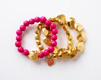 Stackable Bracelet Set, Set of 3 Friendship Bracelets, Boho Bracelet Set, Gold Heart Bracelet, Beaded Elastic Bracelet