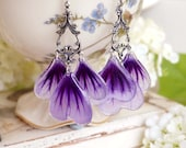 Long violet silver plated earrings with nature mallow Pressed Petal/Pressed Flower Jewelry,Resin Jewelry, gift for a woman