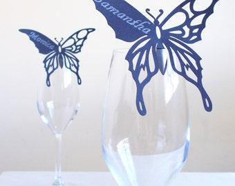 Paper Cut Butterfly Glass Perching Guest Place Cards