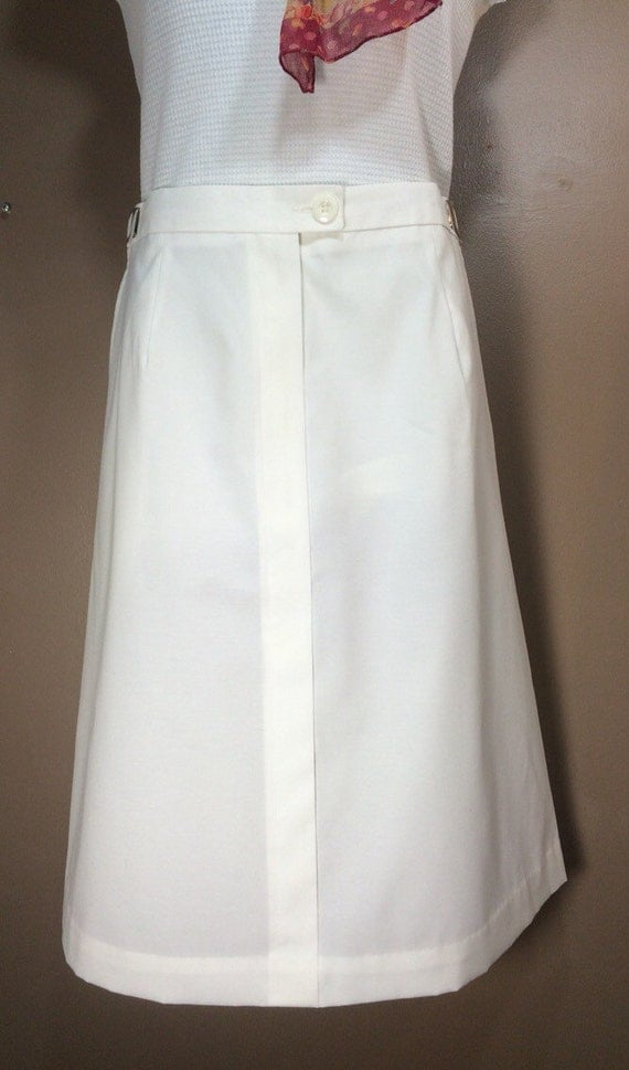 white cotton skirt knee length a line size 14 vintage