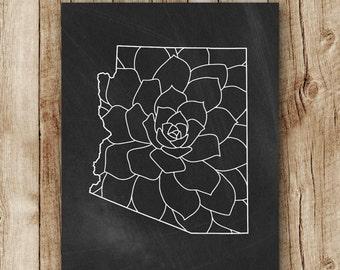 arizona print, arizona map floral, chalkboard state map printable, arizona state print, black and white wall decor, instant download