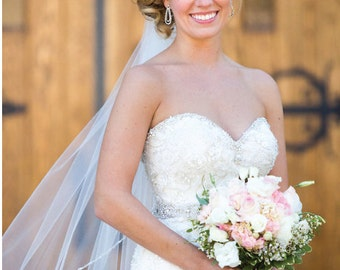 Custom beaded edge bridal veil with pearls, rocailles, & crystals