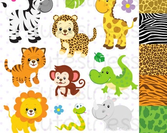 Safari Clipart , Zoo Clipart , Cute Animals, Baby Animals Clipart