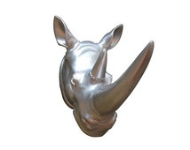 Silver Rhino head, faux Rhino head, wall hanging, animal head, faux taxidermy, wall decor, rhino head wall hanging, rhino head decor, Africa