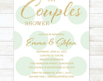 mint gold couples shower invitation, mint green gold glitter couples shower invite, customizable bridal party invite