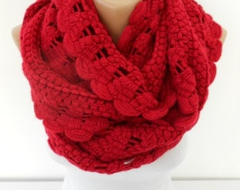 Knitted Infinity Scarf Red Scarf Women Circle Scarf Cozy Winter Neck Warmer Christmas Gift Ideas For Her Women Fashion Accessories DERINS