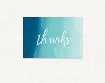 Ombre Watercolor Thank You Card – Summer Breeze – Printable Thank You Card by Squawk Box Studio – INSTANT DOWNLOAD
